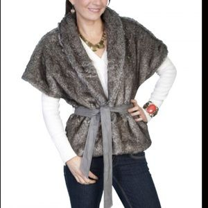 Scully Western Shawl Tie Faux Fur Jacket S
